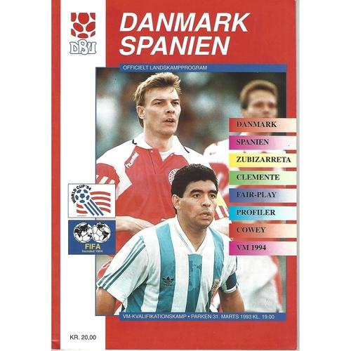 Denmark v Spain Football Programme 1993