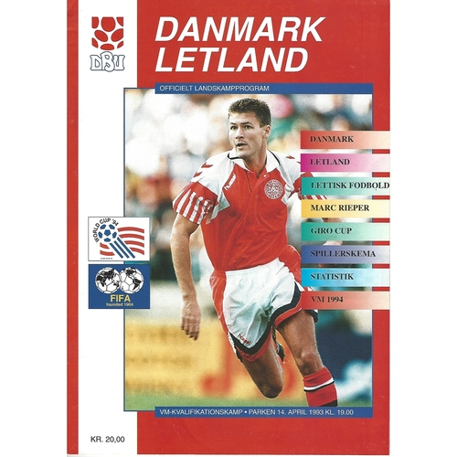 Denmark v Latvia Football Programme 1993
