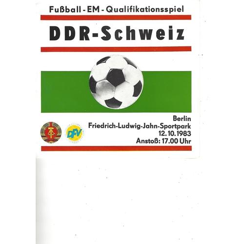 East Germany v Switzerland Football Programme 1983