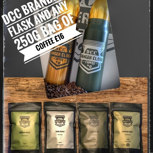 D.C.C. Branded flask and 250g coffee