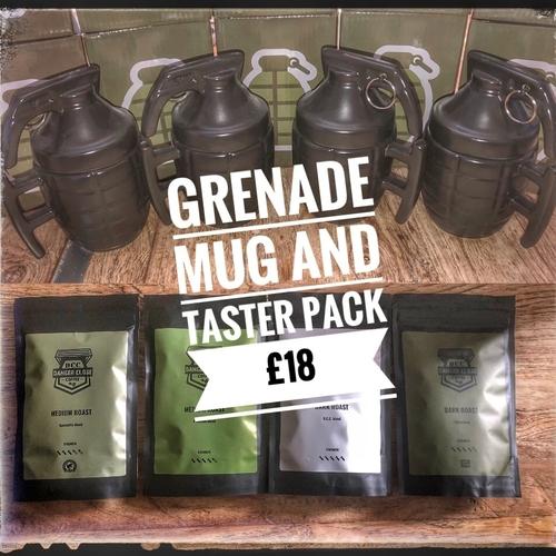 Grenade mug and taster pack