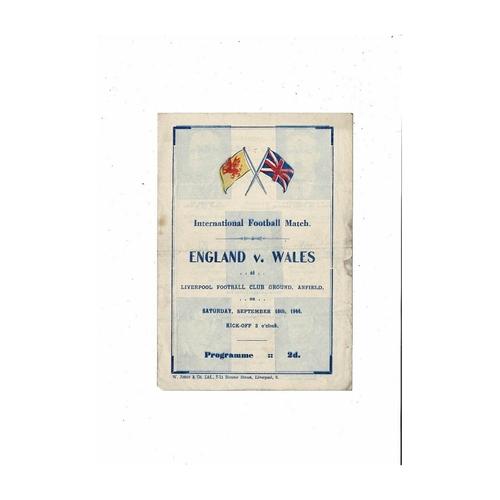 1944 England v Wales Football Programme @ Liverpool