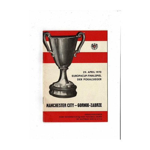 1970 Gornik Zabrze v Manchester City European Cup Winners Cup Final Football Programme