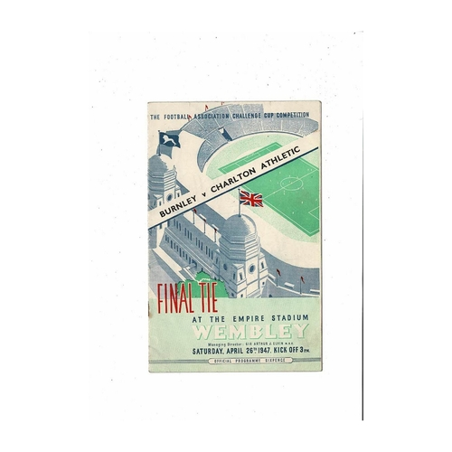 1947 Burnley v Charlton Athletic FA Cup Final Football Programme