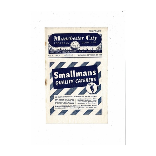 1950/51 Manchester City v Coventry City Football Programme
