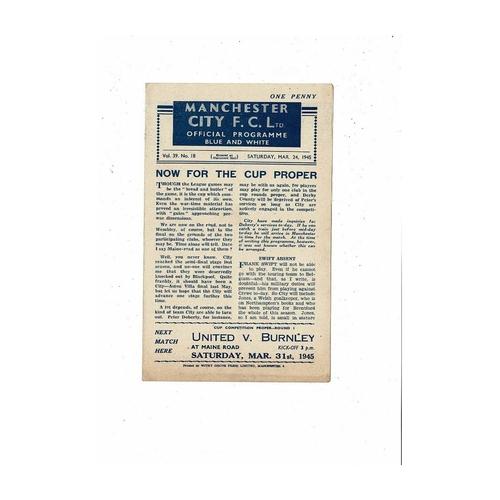 1944/45 Manchester City v Crewe Alexandra War Cup Football Programme March