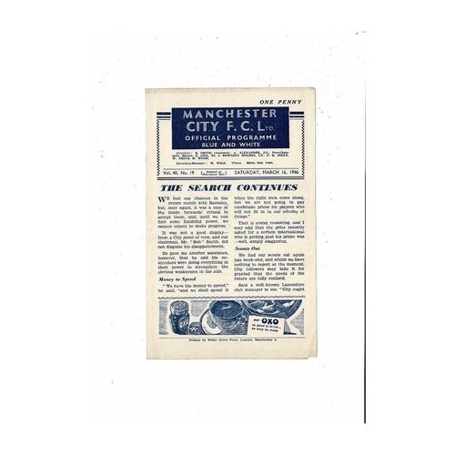1945/46 Manchester City v Preston North End Football Programme
