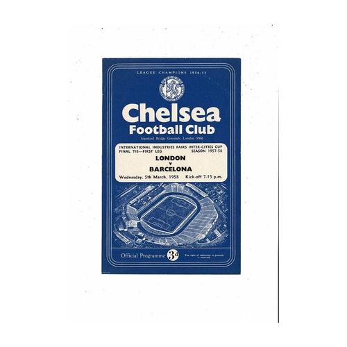 1958 London v Barcelona Inter Cities Fairs Cup Final Football Programme @ Chelsea