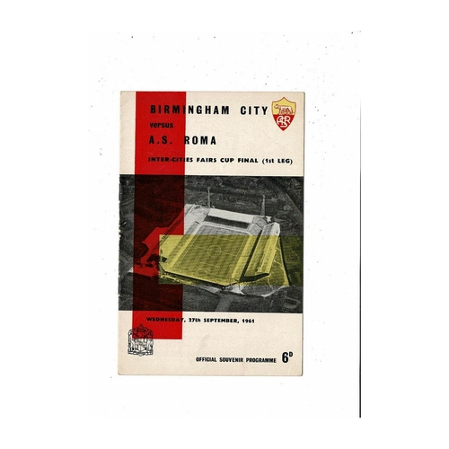 1961 Birmingham City v Roma UEFA Fairs Cup Final Football Programme