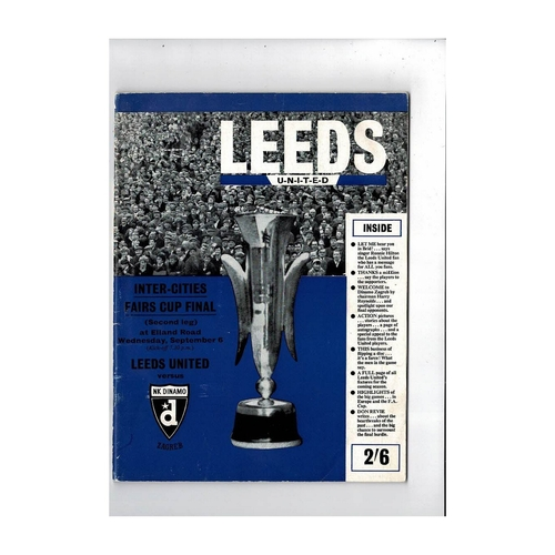 1967 Leeds United v Dinamo Zagreb Fairs Cup Final Football Brochure