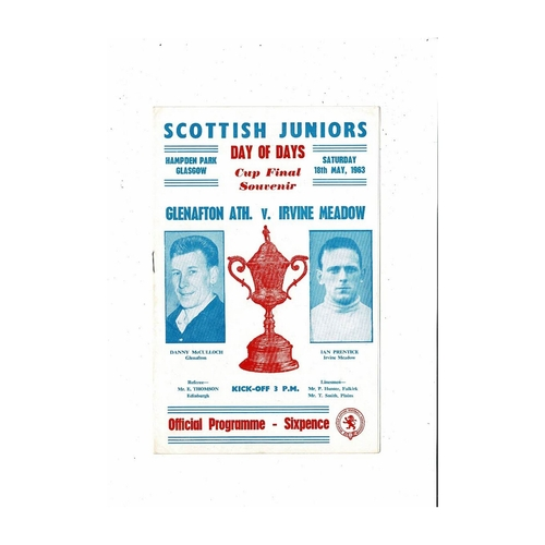 1963 Glenafton Athletic v Irvine Meadow Scottish Junior Cup Final Football Programme