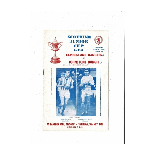 1964 Cambuslang Rangers v Johnstone Burgh Scottish Junior Cup Final Football Programme