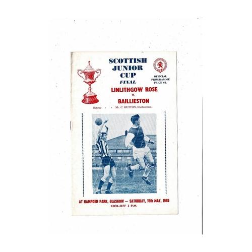 1965 Linlithgow Rose v Baillieston Scottish Junior Cup Final Football Programme