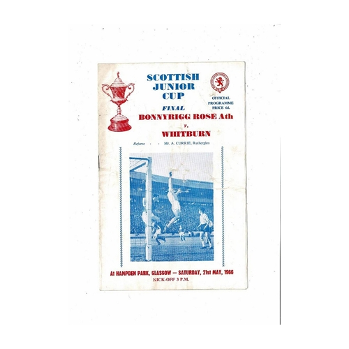 1966 Bonnyrigg Rose Athletic v Whitburn Scottish Junior Cup Final Football Programme