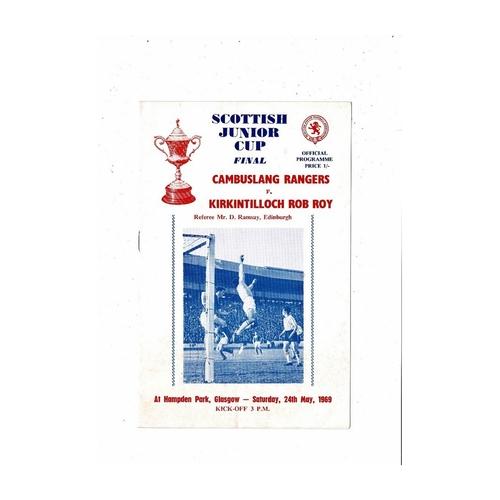 1969 Cambuslang Rangers v Kirkintilloch Rob Roy Scottish Junior Cup Final Football Programme