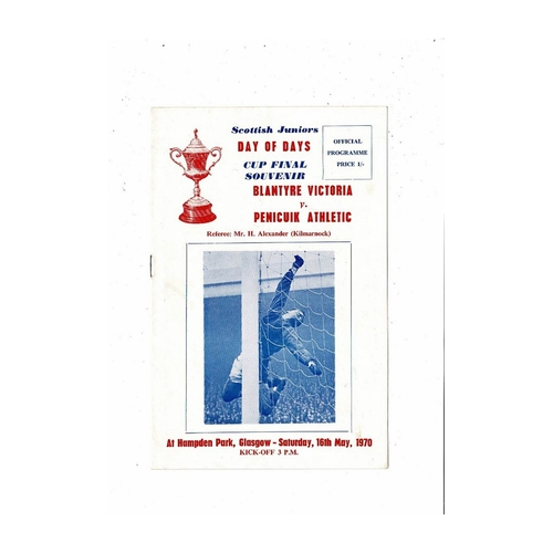 1970 Blantyre Victoria v Penicuik Athletic Scottish Junior Cup Final Football Programme