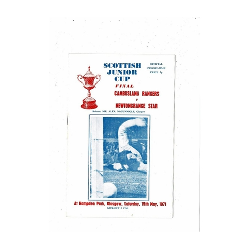 1971 Cambuslang Rangers v Newtongrange Star Scottish Junior Cup Final Football Programme