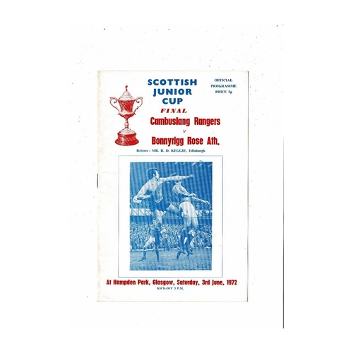 1972 Cambuslang Rangers v Bonnyrigg Rose Athletic Scottish Junior Cup Final Football Programme