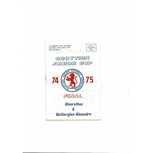 1975 Glenrothes v Rutherglen Glencairn Scottish Junior Cup Final Football Programme