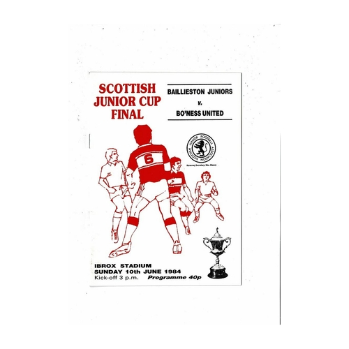 1984 Baillieston Juniors v Bo'ness United Scottish Junior Cup Final Football Programme
