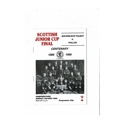 1986 Auchinleck Talbot v Pollok Scottish Junior Cup Final Football Programme
