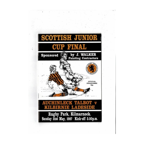 1987 Auchinleck Talbot v Kilbirnie Ladeside  Scottish Junior Cup Final Football Programme