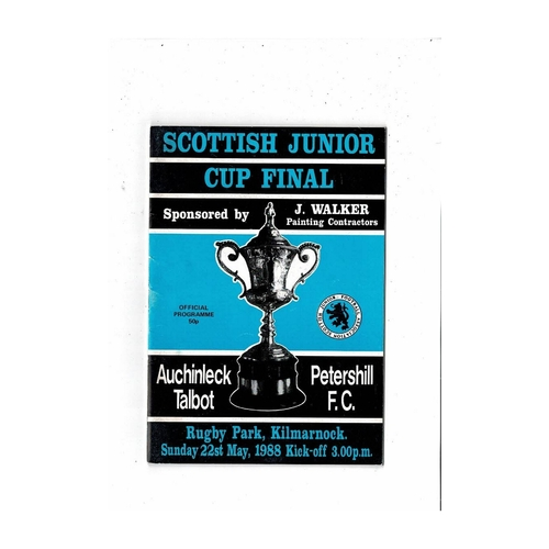 1988 Auchinleck Talbot v Petershill Scottish Junior Cup Final Football Programme