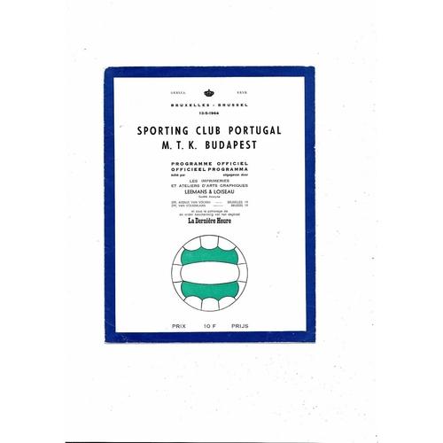1964 Sporting Club v MTK Budapest European Cup Winners Cup Final Football Programme