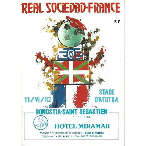 Real Sociedad v France Friendly Football Programme 1982