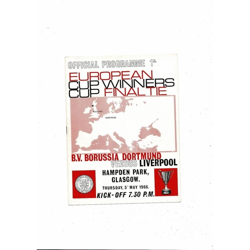 1966 Borussia Dortmund v Liverpool European Cup Winners Cup Final Football Programme