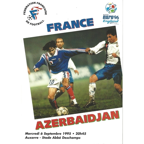 France v Azerbaijan Football Programme 1995