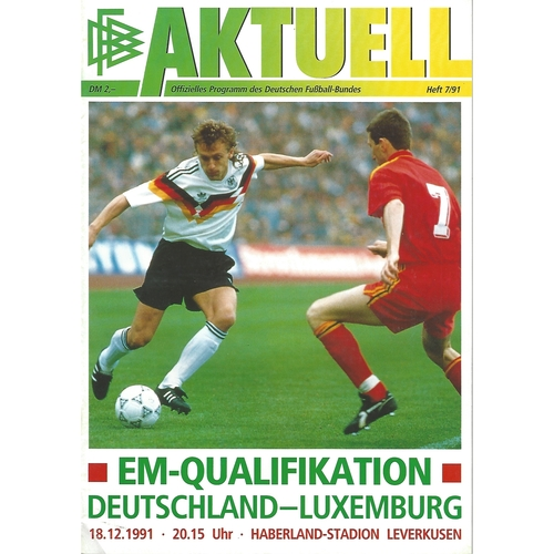 Germany v Luxembourg Football Programme 1991