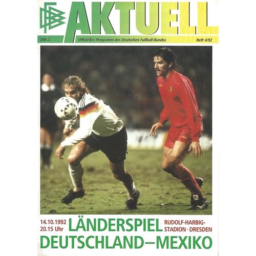 Germany v Mexico Football Programme 1992