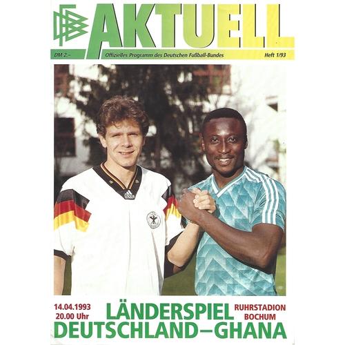 Germany v Ghana Football Programme 1993