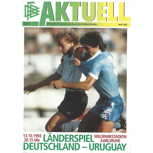 Germany v Uruguay Football Programme 1993