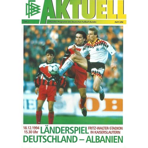 Germany v Albania Football Programme 1994