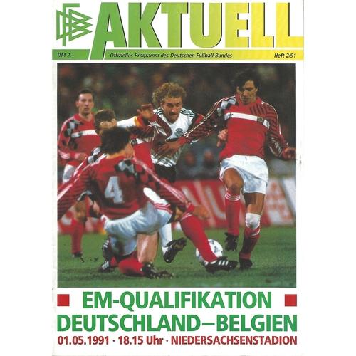 Germany v Belgium Football Programme 1991