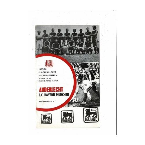 1976 Anderlecht v Bayern Munich European Super Cup Final Football Programme