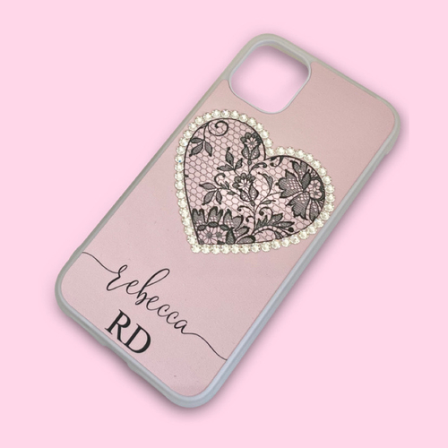 Black Lace Heart Swarovski Crystal Phone Case