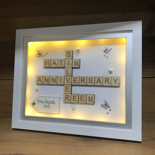 Silver wedding scrabble word art