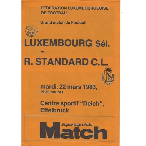 Luxembourg v Standard Liege Football Programme 1983