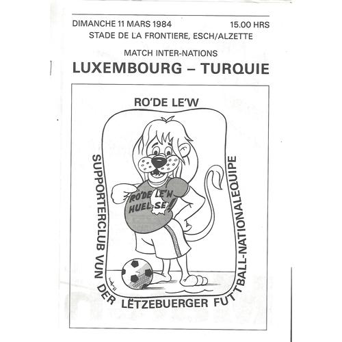 Luxembourg v Turkey Football Programme 1984