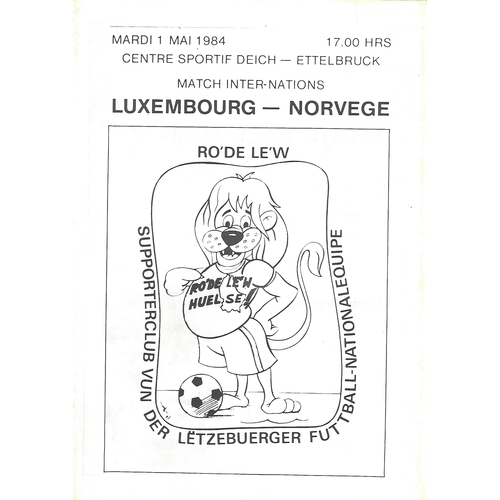 Luxembourg v Norway Football Programme 1984