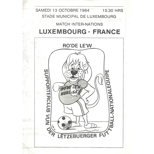 Luxembourg v France Football Programme 1984