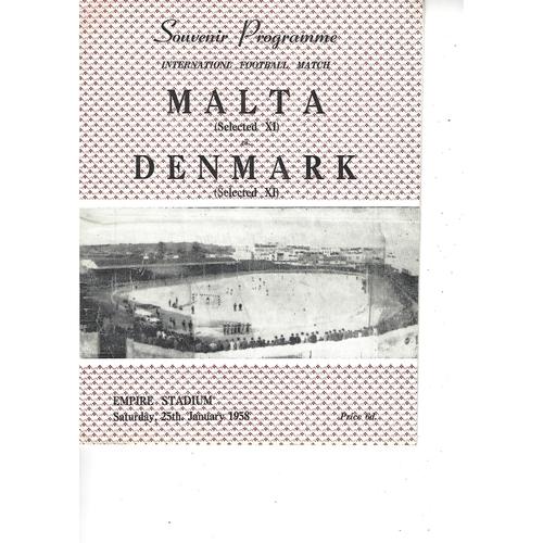 Malta v Denmark Football Programme 1958