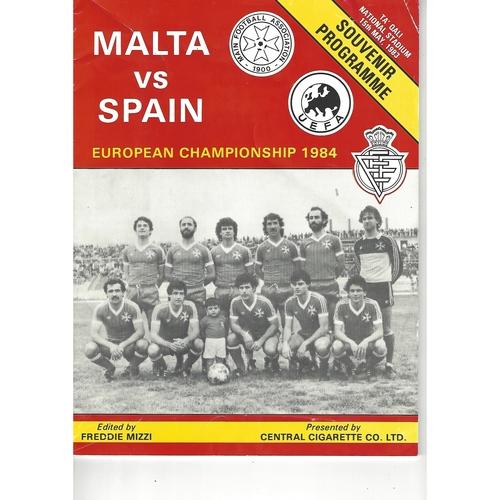 Malta v Spain Football Programme 1983