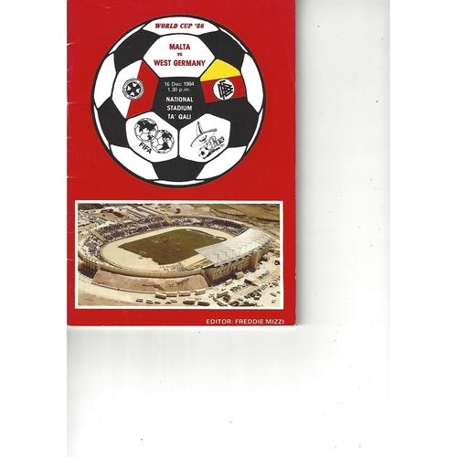 Malta v West Germany Football Programme 1984