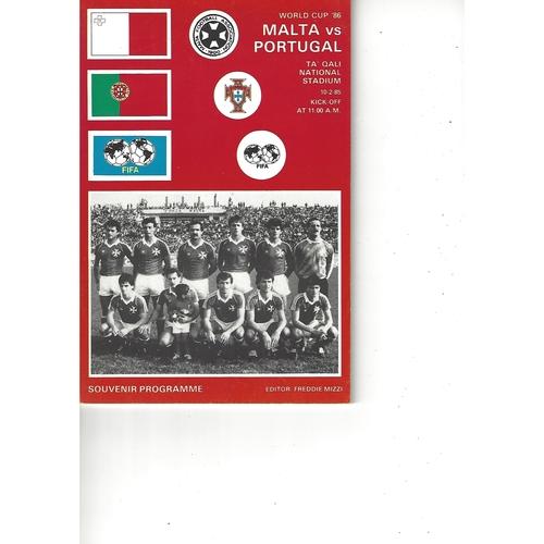 Malta v Portugal Football Programme 1985