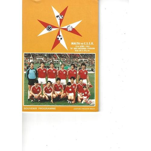 Malta v Czechoslovakia Football Programme 1985