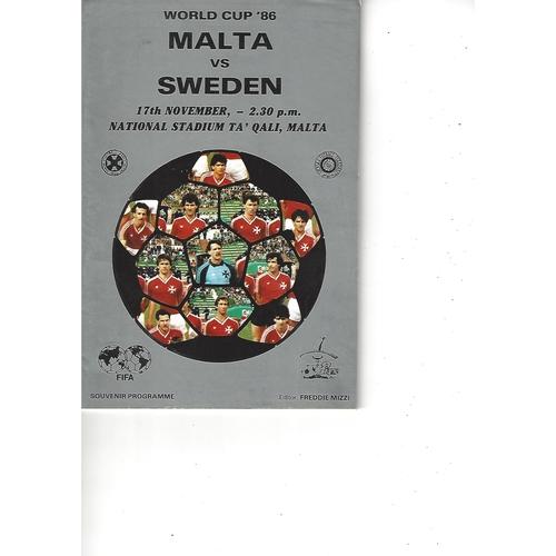 Malta v Sweden Football Programme 1985